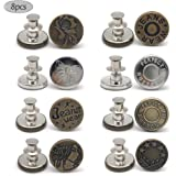 8 PCS Instant Buttons Jean Buttons Removable Button No Sew Buttons for Pants Jeans Sewing Crafts DIY Clothes (17mm) Adjustabl