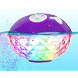 Portable Bluetooth Speakers Wireless Colorful Lights Show,IPX7 Waterproof Floating Pool Speaker,Built-in Mic Crystal Clear St