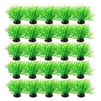 uxcell 人工水草 水槽オーナメント 水槽プラント 魚タンク 植物装飾 芝生 鮮やか 緑 黒 20個入り