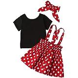 SEVEN YOUNG Toddler Baby Girls Dress Long Sleeve Black T-Shirt + Polka Dots Strap Skirt + Headband Fall Outfit Set Skirt Set