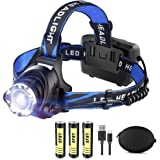 LED Rechargeable Headlamp Flashlight LBJD Super Bright Headlamps with 3 Rechargeable Batteries for Long Working Time, USB Cab
