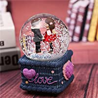 royarebarクリエイティブベビーおもちゃ音楽ボックス音楽ボックスwith Snow Glitter – A Little Girl and aittle Boy Face to Face in the Crystal Ball forクリスマスgift-large