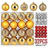 ZOGIN Christmas Ball Ornaments,Assorted Pendant Shatterproof Christmas Baubles Balls Ornaments Set Seasonal Decorations for Festival Holiday Wedding Party Xmas Décor (32pcs/Pack,40mm, Gold)