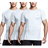 TSLA Men's (Pack of 1, 2, 3) Cool Dry Short Sleeve Compression Shirts, Athletic Workout Shirt, Active Sports Base Layer T-Shi