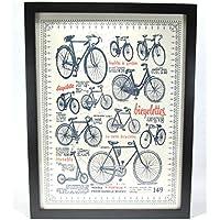 ビンテージ風 さまざまな レトロ 自転車 布画 ポスター 黒枠 フレーム入り カフェなどの装飾にも