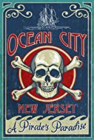 Ocean City、新しいジャージー – Skull And Crossbones Sign 24 x 36 Giclee Print LANT-53983-24x36