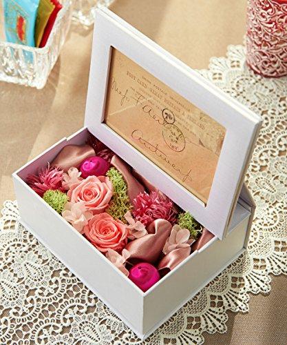 フォトフレーム白とプリザーブドフラワーのセット 花色:ピンク...