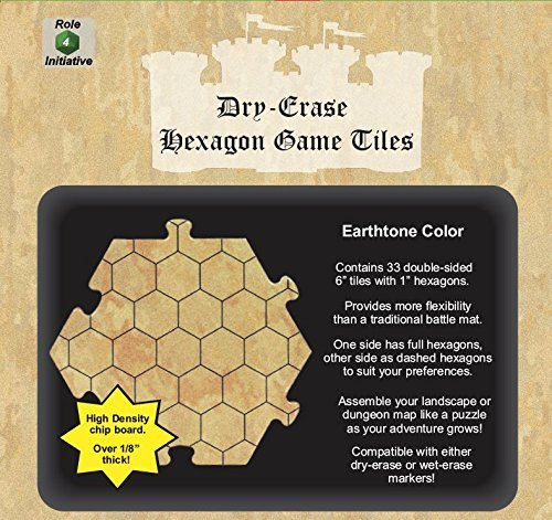 Dry Erase Hexagon Dungeonタイル、Earthtone – パックof 33 Sixインチタイル