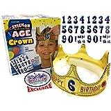 カスタムゴールド誕生日クラウンwith stick-on Age Stickers