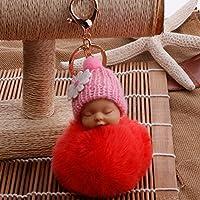 YipingクリエイティブキーリングGifts Plush BabyキーリングPurse Handバッグ車ペンダントキーチェーンギフト(スイカレッド)