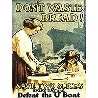 Propaganda War WWI UK Waste Food Bread Uboat Canvas Print イギリス