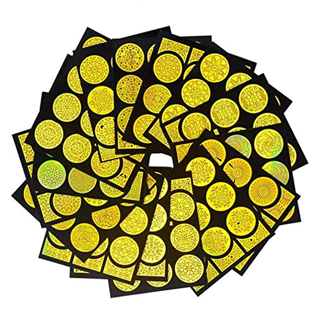 女将におい郵便SUKTI&XIAO ネイルステッカー 20枚不規則なグリッドネイルアート中空レーザーゴールデンテンプレートステンシルステッカービニール画像ガイドマニキュア、20スタイル各1個