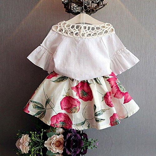 Tonsee 女の子 ラブリー スカートスーツ 半袖シャツ フラワー ミニスカート 二枚セット (100)