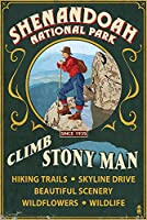 Shenandoah国立公園、バージニア州 – Climb Stony Man Vintage Sign 16 x 24 Signed Art Print LANT-42285-709