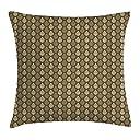 ダマスク織り枕クッションカバー 茶色の色調で古典的な抽象的な巻き毛のフィギュアロココスタイルの伝統的な 装飾的な正方形のアクセント枕ケース 18 x 18インチ アンバーキャラメルイエロー