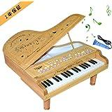 グランドピアノ 37鍵 子供ピアノ ピアノおもちゃ 高級木製 誕生日 子供の日 クリスマスプレゼント 日本語説明書付き (木)