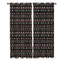 遮光カーテン 黒い背景 クリスマス ドレープカーテン おしゃれ 断熱 遮熱 防音 昼夜目隠し 遮像 デコレーション 洗濯可 取り付け簡単 100cmx160cmx2