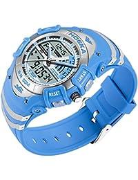 HOSKA かっこいい デジタル 腕時計 キッズ ガールズ ボーイズ 多機能 子供 スポーツウォッチ アラーム ストップウォッチ (ブルー)
