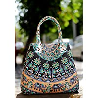 Indian Mandala Women Handbag Cotton Shoulder Bag Large Beach Tote Bag Ladies Bag