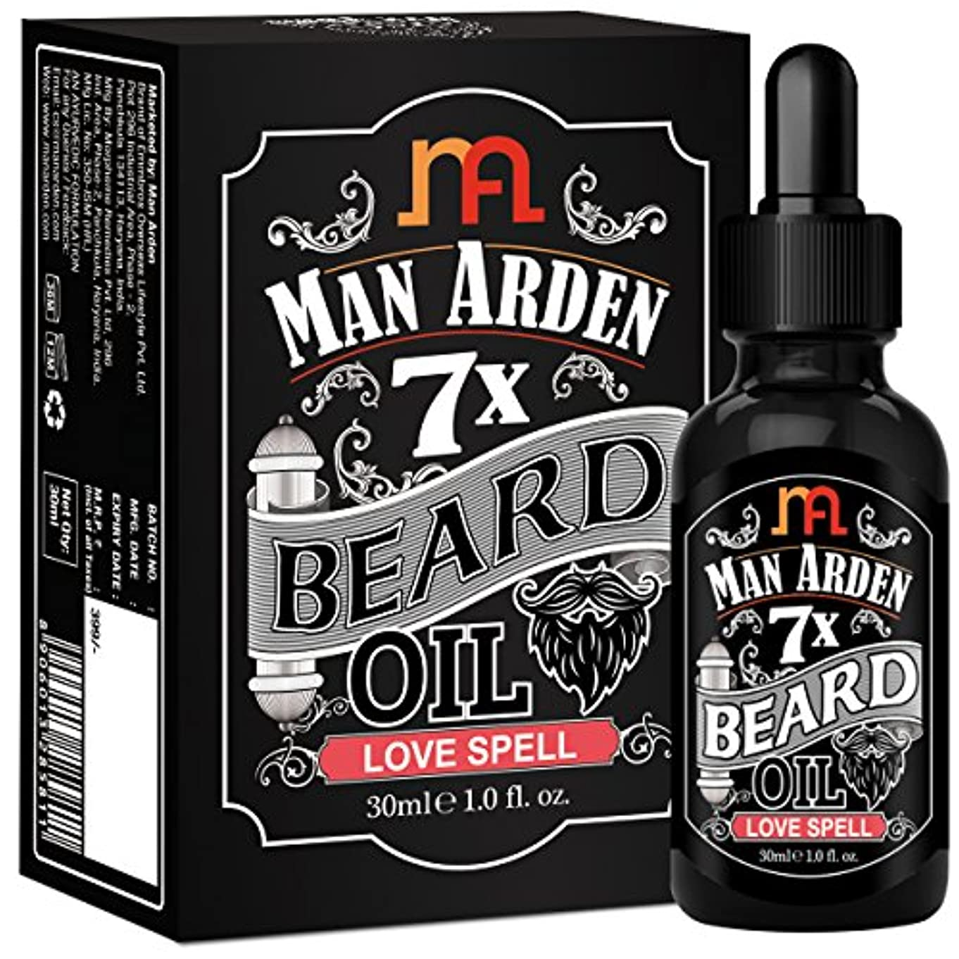 超音速洪水仕えるMan Arden 7X Beard Oil 30ml (Love Spell) - 7 Premium Oils Blend For Beard Growth & Nourishment