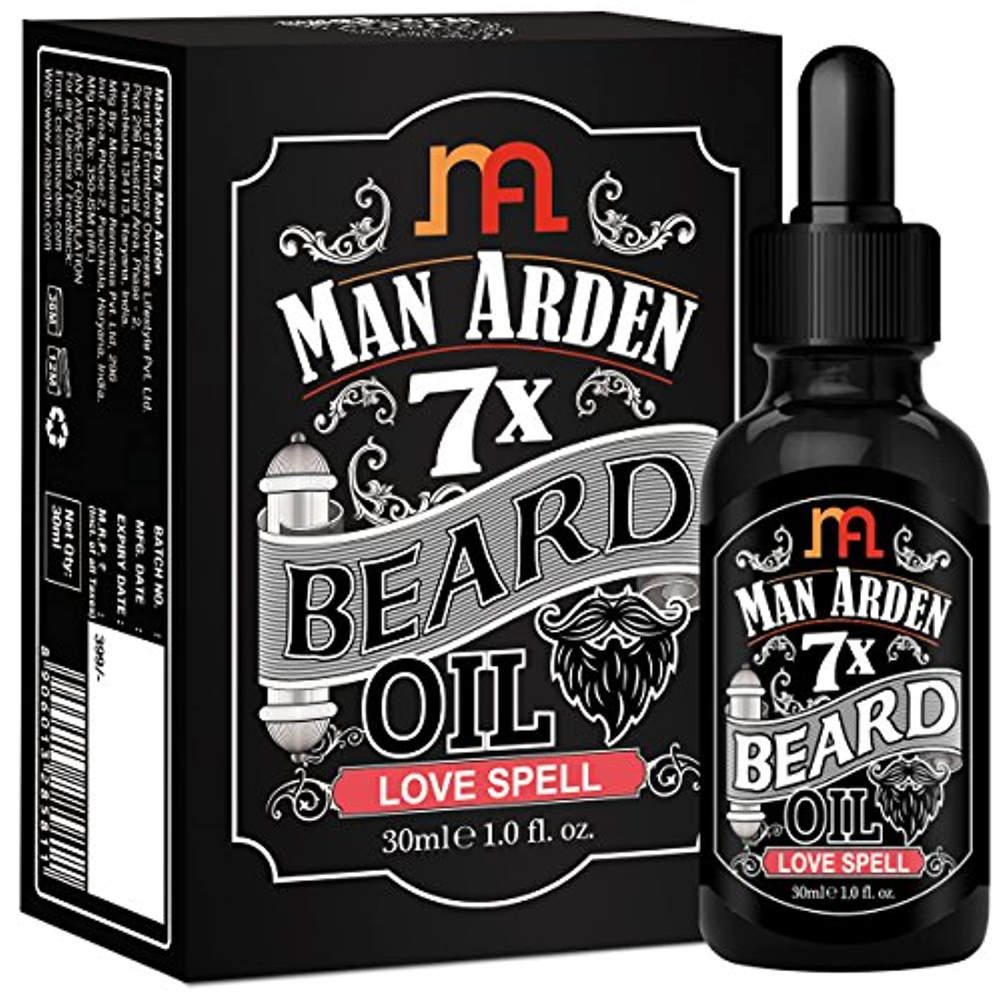 フォーム懸念追い払うMan Arden 7X Beard Oil 30ml (Love Spell) - 7 Premium Oils Blend For Beard Growth & Nourishment