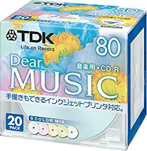 TDK 音楽用CD-R 80分 インクジェットプリンタ対応(5色カラーミックス・ワイド印刷仕様) 20枚パック 5mmケース CD-RDE80CPMX20S