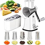 Rotary Cheese Grater Shredder 5-in-1 Tumbling Box Mandoline Vegetable Julienne Slicer Waffle Cutter Nut Chopper with Handle a