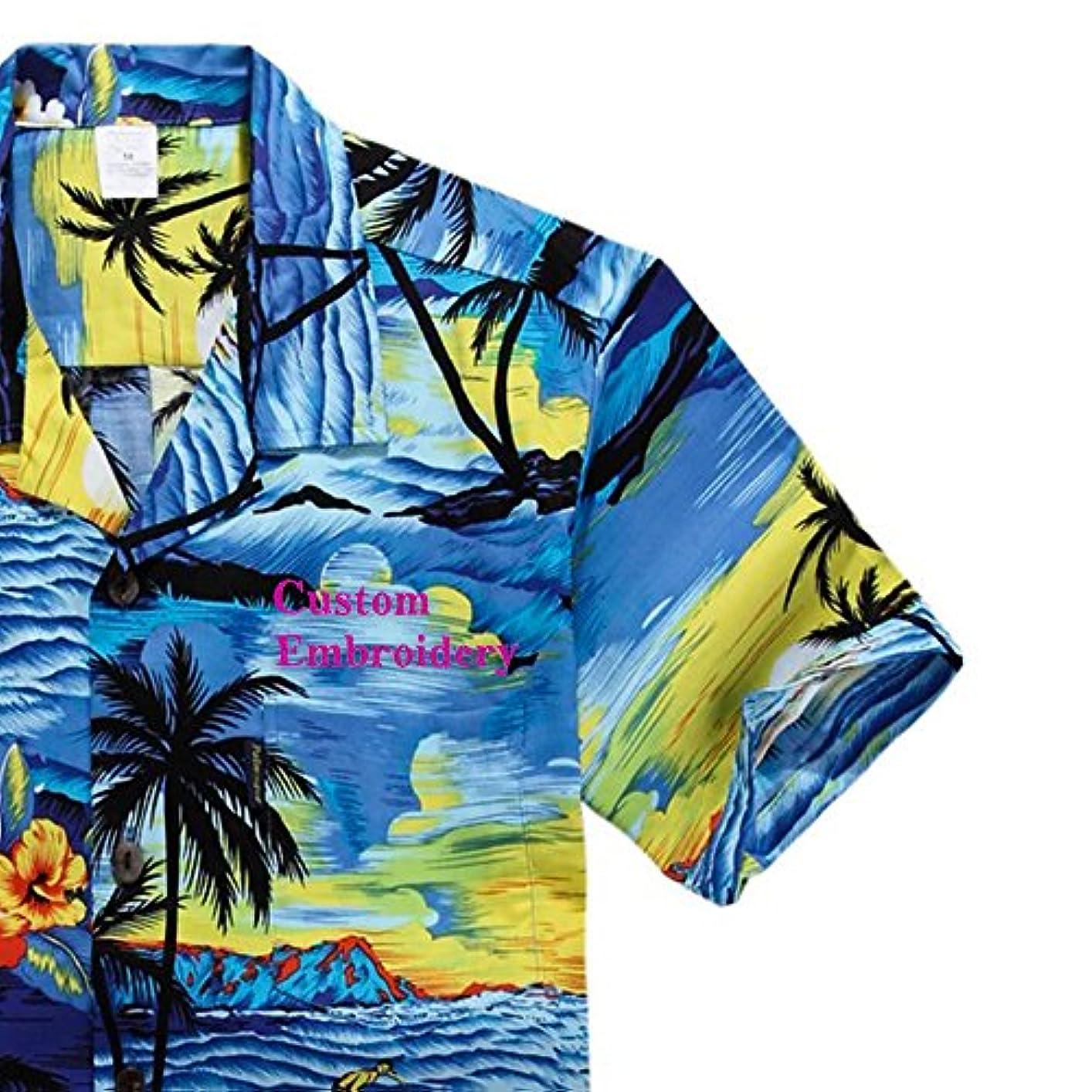 チケットグループどちらかパーム ウェイブ(Palm Wave) メンズ ハワイアン シャツ アロハシャツ (インポート)