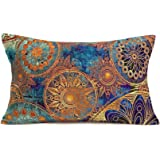 Bohemian Ethnic Style Throw Pillow Covers Cotton Linen Colorful Retro Floral MandalaPattern Decorative Throw Pillow Case Hom