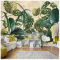Wxmca レトロ熱帯熱帯雨林ヤシのバナナの葉壁画壁紙3Dのリビングルームの背景-250X175Cm