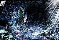 マジッククリスタルCave写真バックドロップファンタジーマッシュルームと蝶フェアリーダーク写真背景Studio 7x 5ft