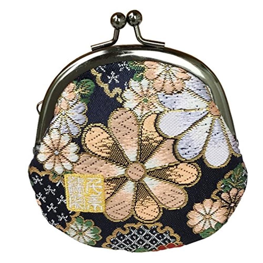 夜明けに真鍮是正千糸繍院 西陣織 金襴 がま口 2.5寸丸型財布/小銭入れ(裏地付き)