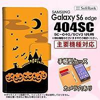 手帳型 ケース 404SC スマホ カバー Galaxy S6 edge ギャラクシー ハロウィン オレンジ nk-004s-404sc-dr401