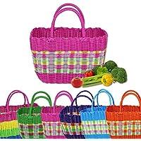 ショッピングバスケット 買い物籠 おしゃれ かわいい プラスチック 編み カラフル 果物 野菜 カラーがランダムに送信