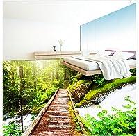 Wapel 壁画の 1408 d 壁紙カスタム サイズ 3 D 床壁画森林木の庭橋 3 D 立体 Pvc 防水フロアー リング壁紙ホーム デコレーション 130x80cm