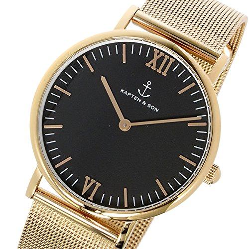 キャプテン&サン KAPTEN&SON 36mm ブラック/ゴールドステンレスメッシュ レディース 腕時計 GD-KS36BGM [並行輸入品]