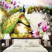 Jason Ming カスタム3D壁壁画壁紙手描きの花鳥孔雀油絵リビングルームのソファテレビの背景写真壁紙-120X100Cm