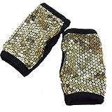 DFギャラリー グローブ ダンス小物 スパンコール 指なし 両手用 DA3441 ブラックxゴールド飾り レディースサイズ