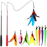 Cat Feather Toy, Retractable Cat Toys Wand 2 Wands & 9 Assorted Teaser Refills, Interactive Feather Teaser Wand Toy Bell Kitt