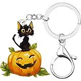 NEWEI Acrylic Halloween Cute Pumpkin Black Cat Keychain Rings Punk Jewelry For Women Girls Purse Festival Charms Gift