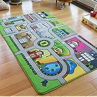 Baibu Home ラグ プレイマット 子供 道路 汽車 洗える 面白い キッズマット 知育グッズ 子供部屋 99х200cm インテリア