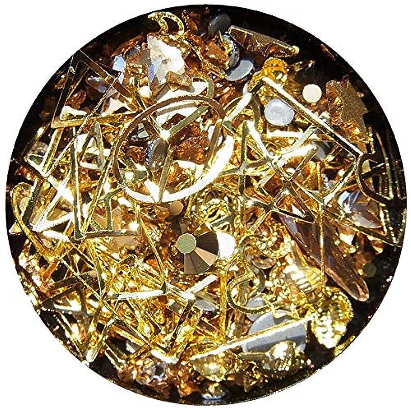 【jewel】メタルパーツ ミックス ラインストーン カーブ付きフレーム ゴールド ネイルアートパーツ レジン (1)