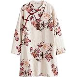 Minibee Women's Linen Dress Long Sleeve Retro Tunic Dresses Ethnic Floral Print Clothing