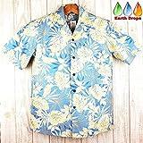 アロハシャツ メンズ ハワイ製 ALOHA REPUBLIC サザンブルー/モンステラ葉柄 アロハリパブリック(US XL)