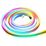 ALITOVE WS2812B LED Strip Neon Sign Light 6.6ft 2M Addressable RGB Dream Color Rainbow LED Pixels Lights for DIY LED Neon Let