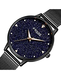 BesTn出品 腕時計 レディース クオーツ 電池付き シンプル ユニーク 星空 可愛い (ブラック)