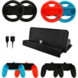Accessory for Nintendo Switch, Migavan 10 in 1 for Nintendo Switch Accessories Set 4 PCS Joy Con Controller Wheel + 4 PCS Gri