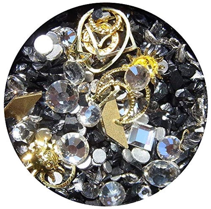 助けて冬年金【jewel】メタルパーツ ミックス ラインストーン カーブ付きフレーム ゴールド ネイルアートパーツ レジン (3)