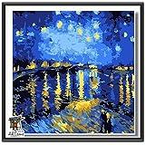 ARTomo【アトモ】パズル油絵『日本国内発送|フレーム付き|世界名画』数字 油絵 DIY 塗り絵 本格的な油絵が誰でも簡単に楽しく描ける 20x20cm (ゴッホ|ローヌ川の星月夜(星降る夜))