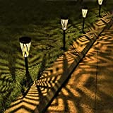 LeiDrail Solar Pathway Lights Outdoor Garden Metal Solar Powered Walkway Warm White LED Landscape Lighting Waterproof for Lawn Patio Yard - 4 Pack (Bronze)